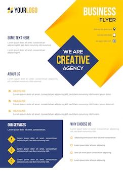 クリエイティブエージェンシーのビジネステンプレートまたはチラシのレイアウト。
