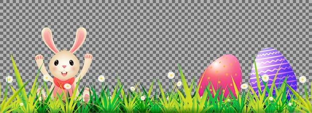 かわいいウサギと装飾的なデイジーの花とイースター