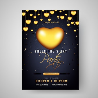 バレンタインデーのパーティーのお祝いの招待状カードデザインデコラット
