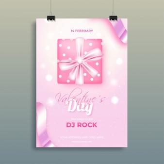 バレンタインデーのピンクのボケ味の背景にギフトボックスのトップビュー