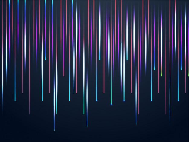 カラフルなレーザー光が落ちる抽象的な背景。