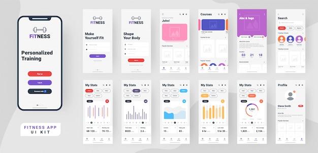 Фитнес мобильное приложение пользовательского интерфейса.