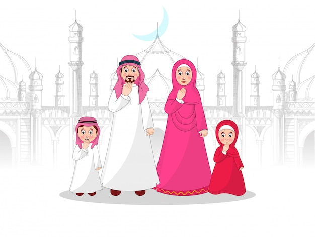 スケッチスタイルのモスクの前にイスラム教徒の家族のキャラクター。
