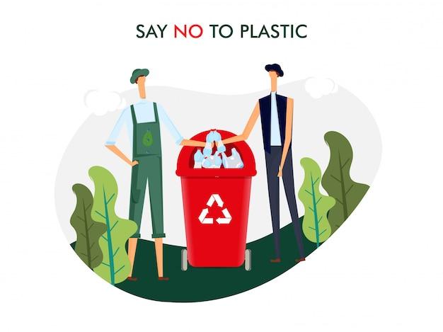 Скажи нет пластику. мужчины бросают пластиковую бутылку в мусорную корзину для решения проблемы загрязнения