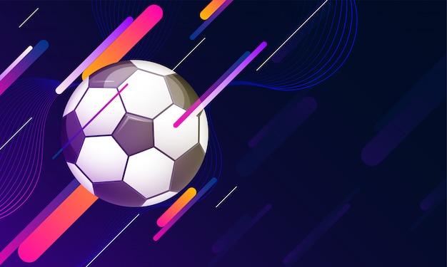 Иллюстрация футбольного мяча на фоне блестящей футуристической технологии