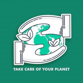 ステッカースタイルの人間の手が緑色の背景で地球を救う