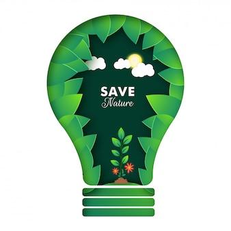 紙カットスタイルエコロジー電球保存自然の概念。