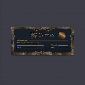 Подарочный сертификат или купон, макет ваучера, украшенный мотивами