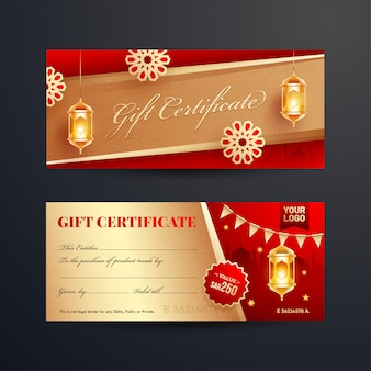 Вид спереди и сзади подарочного сертификата или макета ваучера с