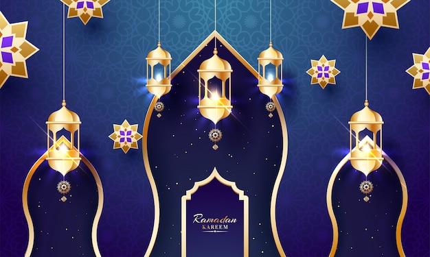 Исламский священный месяц поста, рамадан карим мубарак приветствие с