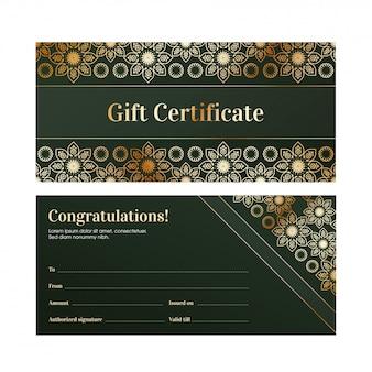Вид спереди и сзади зеленого подарочного сертификата или макета ваучера.