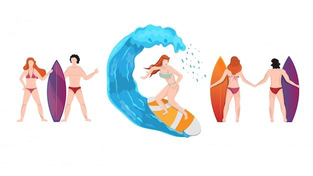 スタイリッシュなポーズでサーフボードを抱えるビーチの人々の漫画のキャラクター