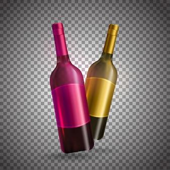 透明な背景にピンクと金色の現実的なワインのボトル。