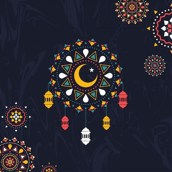 カラフルなイスラムシームレスパターン装飾黒背景ウィット