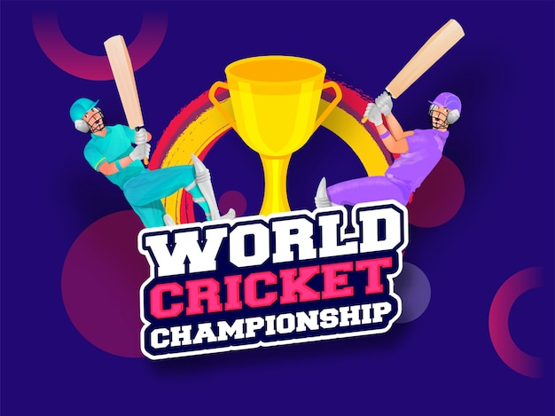 Чемпионат мира по крикету с крикет бэтсменом и трофеем