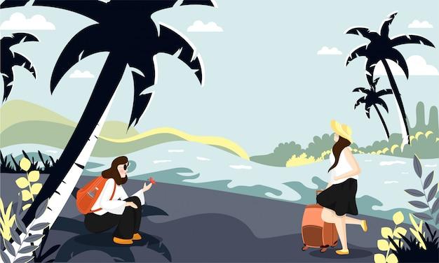 自然風景イラストにさまざまなポーズで若い観光客の女性
