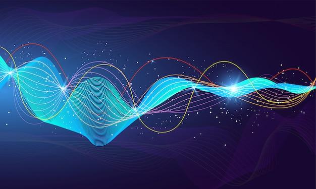 未来的な照明効果を持つ光沢のある未来的な音波