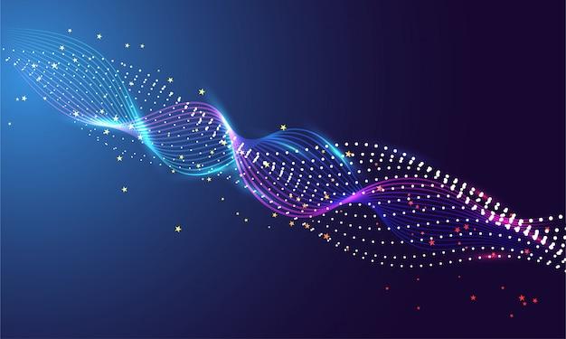 科学や技術の概念に基づく抽象的な背景とライト