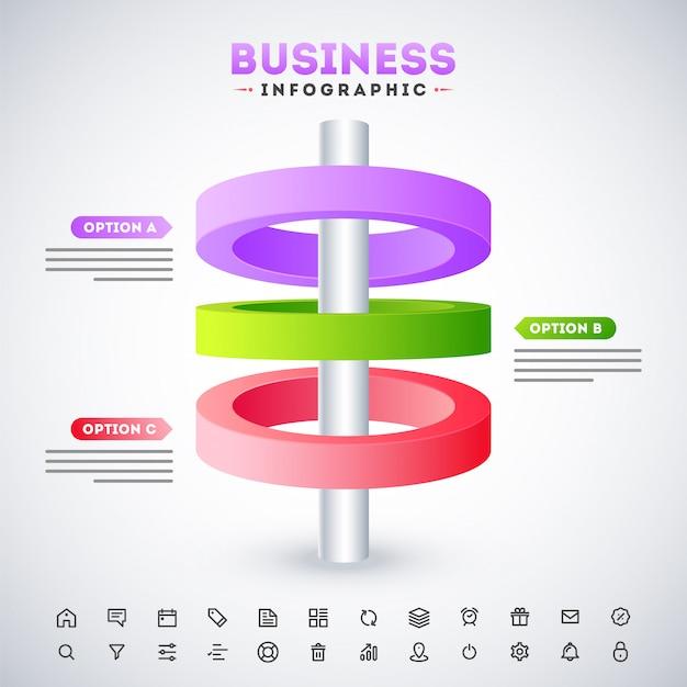 Бизнес инфографики шаблон дизайна с веб-значок на сером