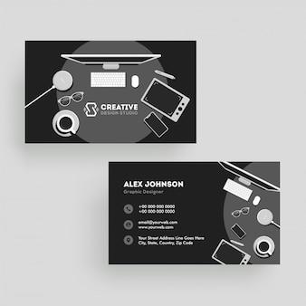 ビジネスカードまたは水平テンプレートの正面図と背面図