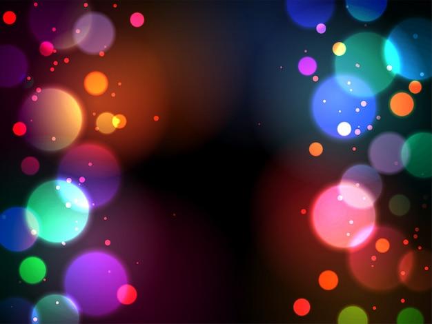 マルチカラーの照明効果と光沢のある抽象的なボケ味の背景