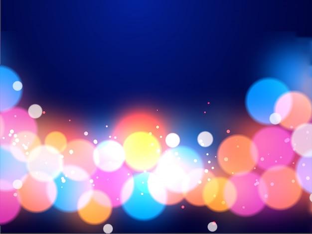 光沢のあるマルチカラー照明効果の抽象的な背景のボケ味。