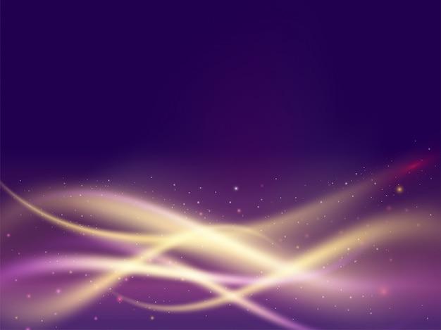 光沢のある紫色の照明モーション波状の抽象的な背景。