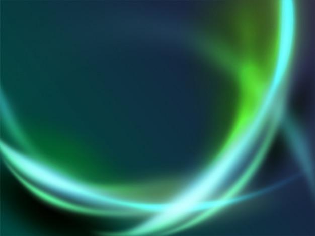 抽象的な緑色の動的波光エネルギー曲線モダンな未来的な背景