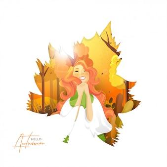 こんにちは幸せな女の子と秋の背景。
