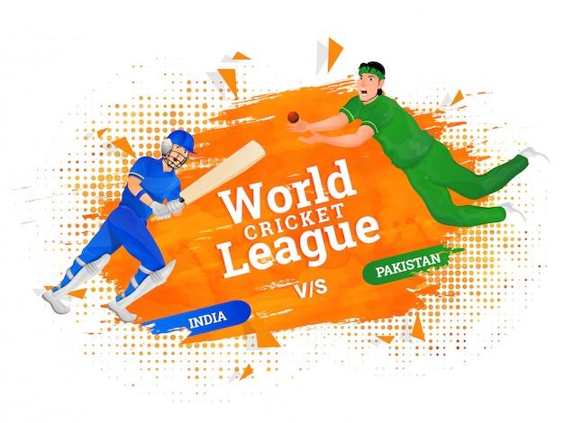 Концепция плаката всемирной лиги крикета.