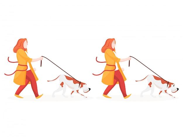 犬を運ぶ若い女性のセット。