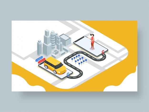 オンラインタクシー予約のランディングページまたはウェブテンプレート。