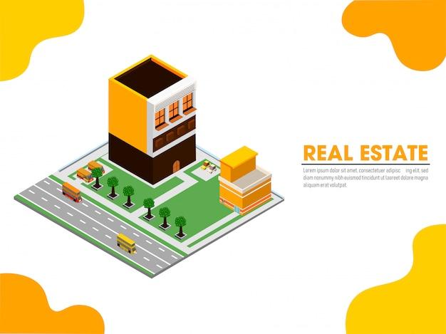 Целевая страница сайта с изометрической проекцией недвижимости.