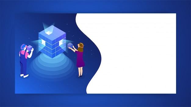ビジネスの開始または仮想現実ゲームのコンセプト。