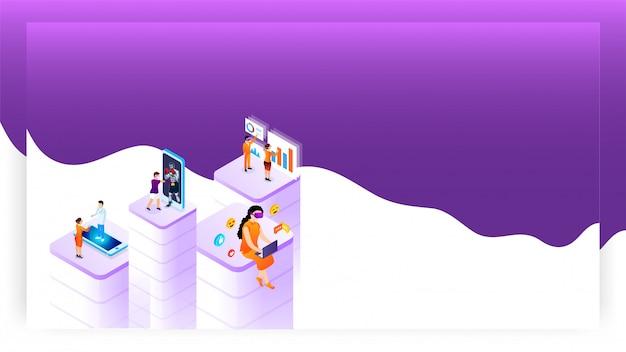 さまざまなソーシャルサービスアプリを使用する人々とのバーチャルリアリティのコンセプトベースのデザイン。