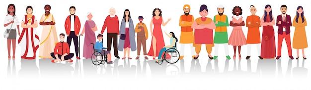 インドの多様性の中で統一を示すさまざまな宗教の人々。
