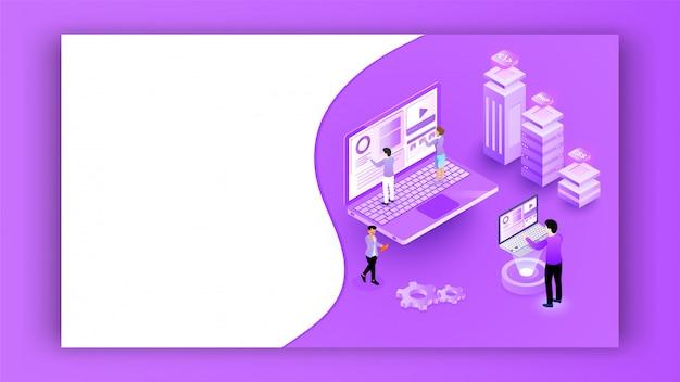 Миниатюрные люди, работающие на ноутбуке с другим сервером программирования на фиолетовый баннер
