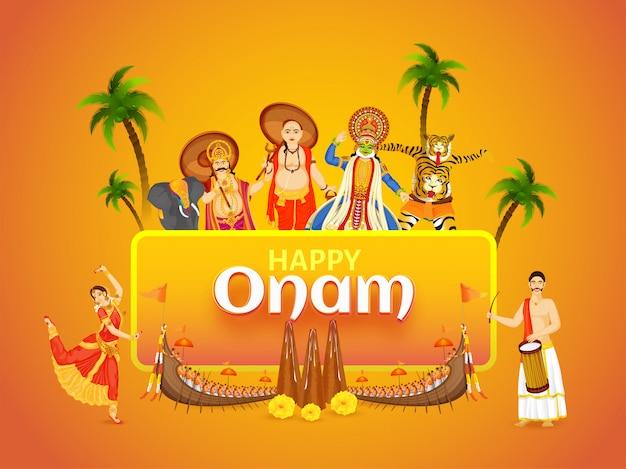 Красивая фестивальная открытка или дизайн плаката с иллюстрацией, показывающей культуру и традиции кералы