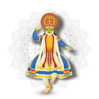 白いマンダラパターン背景に実行するカタカリダンサーのイラスト。