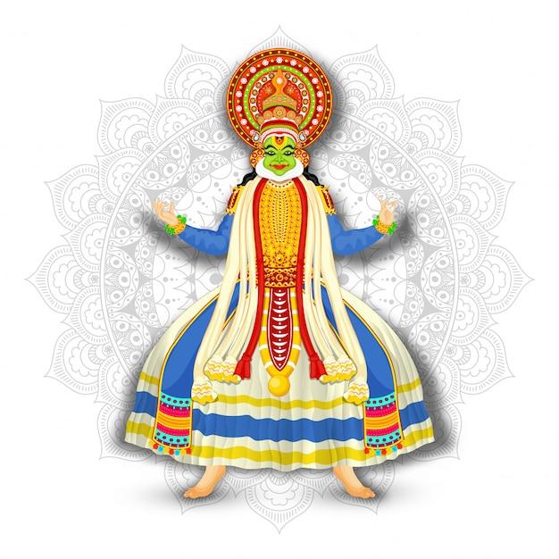白いマンダラパターン背景にカタカリダンサーのイラスト。