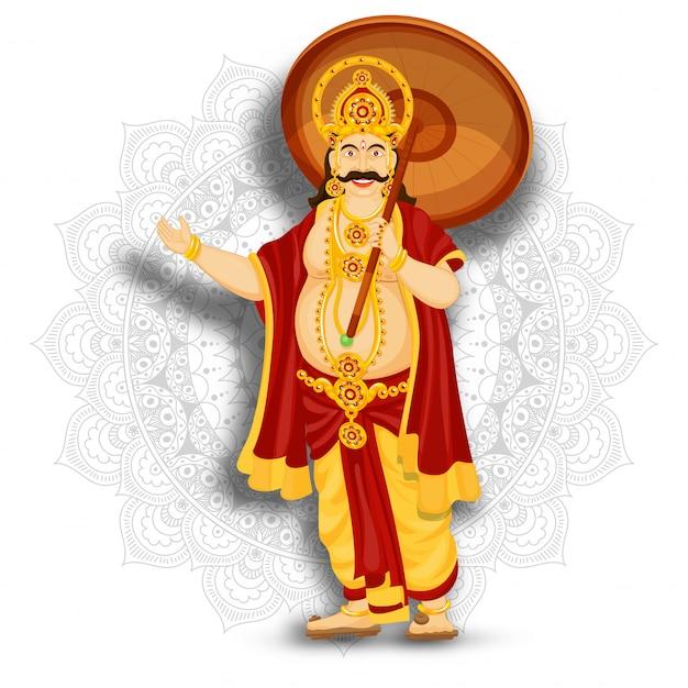 幸せオナム祭のマンダラパターン背景に幸せな王マハバリのイラスト。
