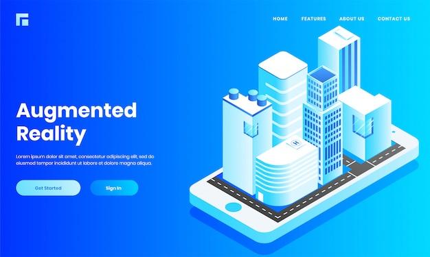 拡張現実のウェブサイトやランディングページのデザインのためのスマートフォンのモバイルアプリのような建築、家、病院の等角図。