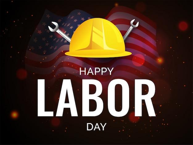 労働者のヘルメットとレンチツールで幸せな労働者の日デザイン
