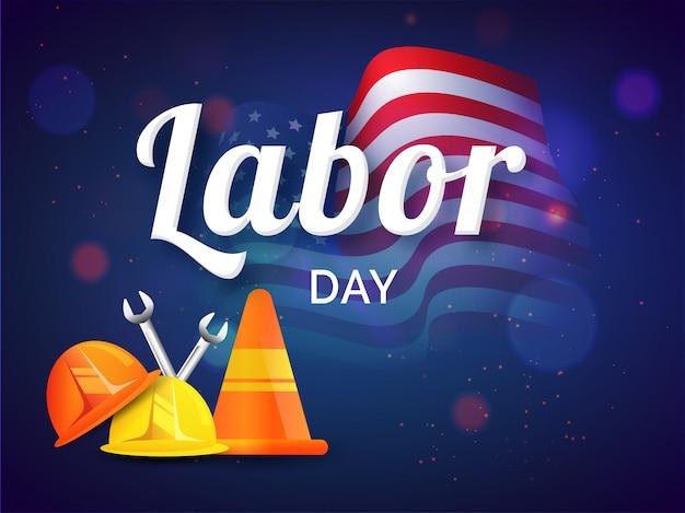 ヘルメット、コーン、レンチなどの構築ツールを使用した労働者の日デザイン