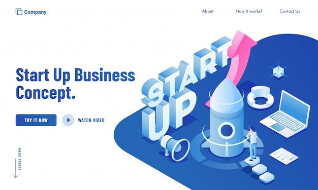 スタートアップビジネスコンセプトのウェブサイトの設計のためのラップトップシステムからプロジェクトを起動するビジネスの男性の等角投影図。