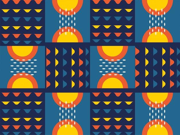 さまざまなパターンと幾何学的形状のカラフルな抽象的なシームレスな背景。