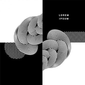 黒と白の色で創造的なスタイリッシュな円形パターンデザインの抽象的な背景。