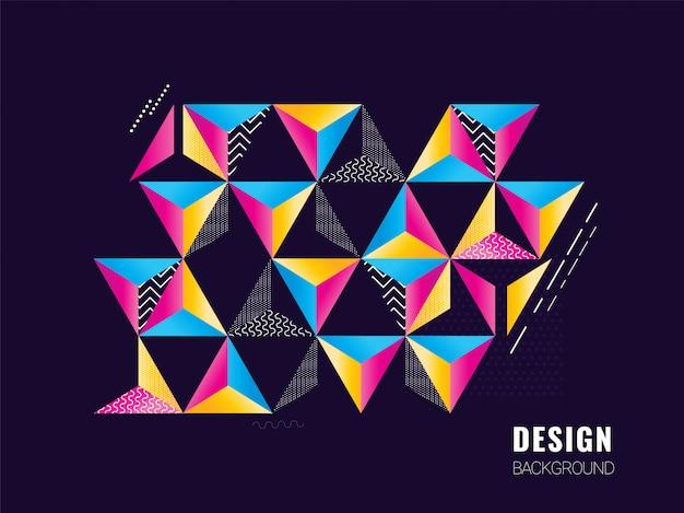 さまざまなパターンのデザインでカラフルな抽象的な幾何学的形状の三角形。