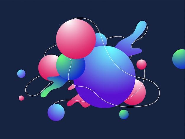 青の背景にカラフルな抽象的なボールまたは球パターン要素。