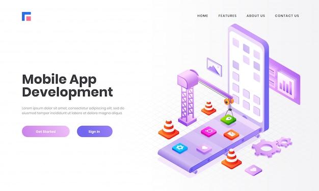 複数のアプリケーション、モバイルアプリ開発コンセプトベースのランディングページデザインのスマートフォン画面でタワークレーンによってメンテナンス中のアプリの等角投影図。